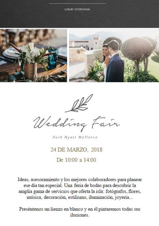 WEDDING FAIR: PARK HYATT MALLORCA (24/MARZO/18)