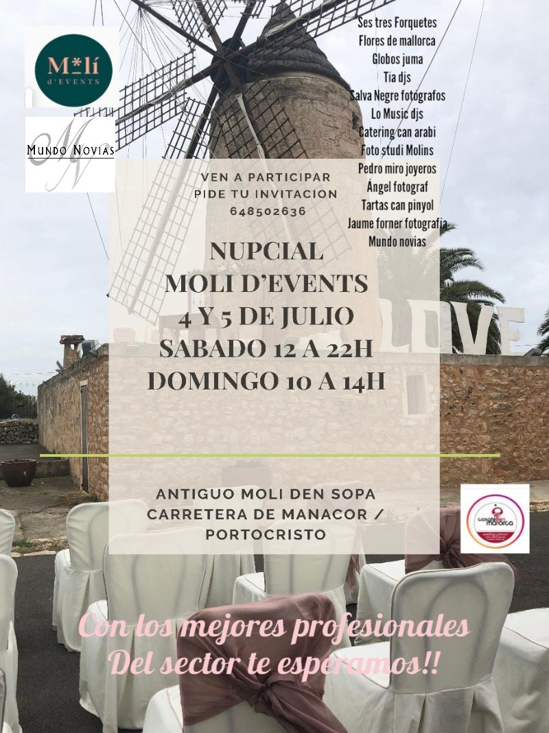 MUNDO NOVIAS EN LAS JORNADAS DE PUERTAS ABIERTAS EN EL MOLI D'EVENTS 4 Y 5 DE JULIO